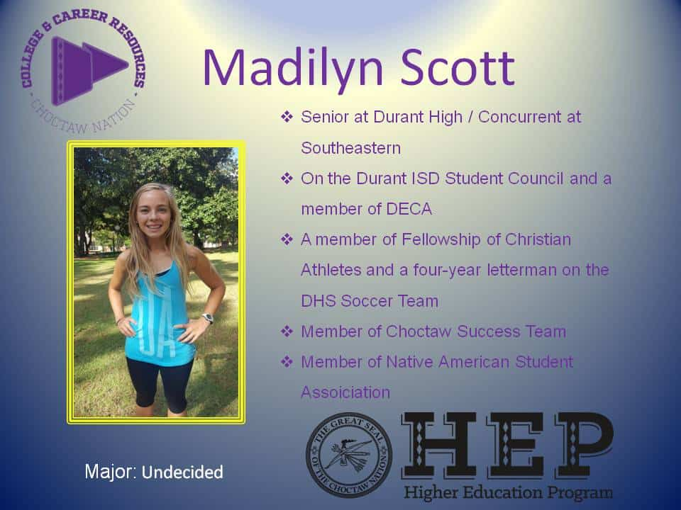 Choctaw Nation Higher Ed Student of the Week Madilyn Scott