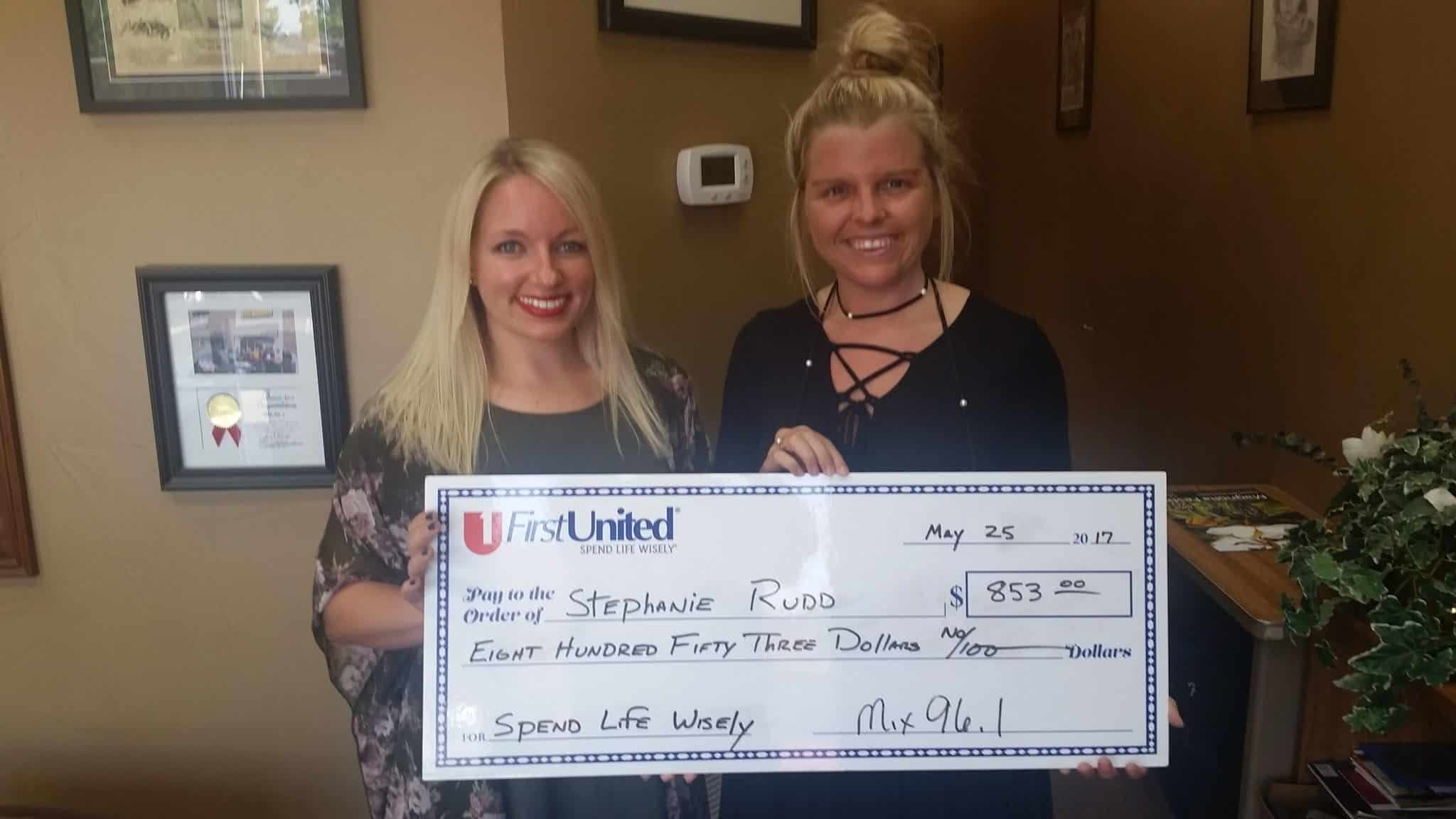 Our latest Spend Life Wisely Winner Stephanie Rudd won $853