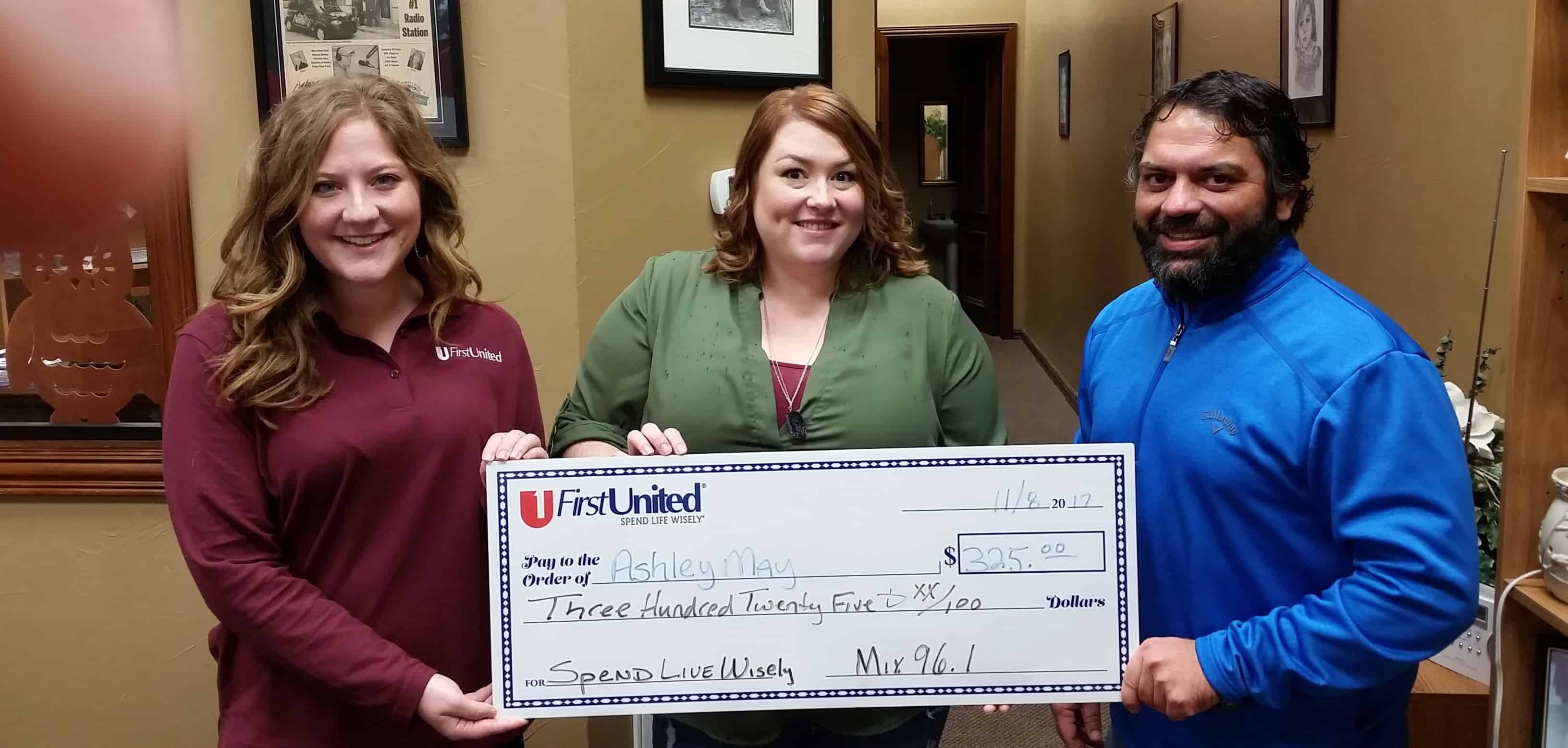 Ashley May won $325 in the Spend Life Wisely Contest